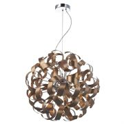 Rawley 9 Light Pendant in Brushed Satin Copper Twisted Decoration - där RAW1364